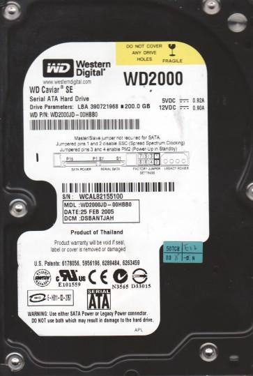 WD2000JD-00HBB0, DCM DSBANTJAH, Western Digital 200GB SATA 3.5 Hard Drive