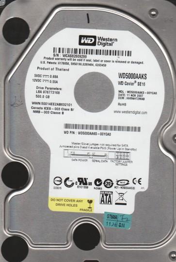 WD5000AAKS-00YGA0, DCM HHRNHT2MAB, Western Digital 500GB SATA 3.5 Hard Drive