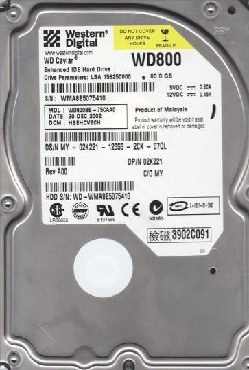 WD800BB-75CAA0, DCM HSEHCV2CH, Western Digital 80GB IDE 3.5 Hard Drive