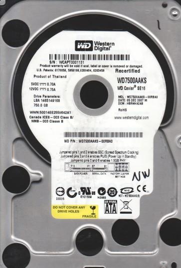 WD7500AAKS-00RBA0, DCM HBRNNA2AB, Western Digital 750GB Sata 3.5 Hard Drive