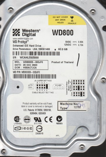 WD800EB-00DJF0, DCM HSBACTJCA, Western Digital 80GB IDE 3.5 Hard Drive