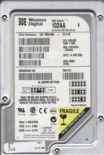 WD102AA-53ANA0, DCM RRBHEIFHO, Western Digital 10.2GB IDE 3.5 Hard Drive