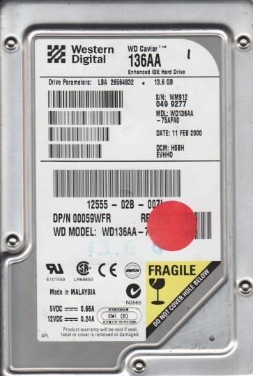 WD136AA-75AFA0, DCM DSBBEVHBO, Western Digital 13.6GB IDE 3.5 Hard Drive