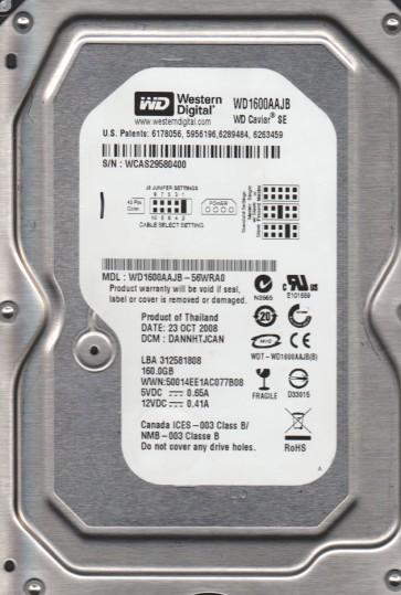 WD1600AAJB-56WRA0, DCM DANNTJCAN, Western Digital 160GB IDE 3.5 Hard Drive