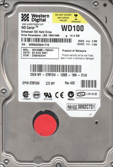 WD100BB-75AUA1, DCM DSBHEGHH, Western Digital 10GB IDE 3.5 Hard Drive