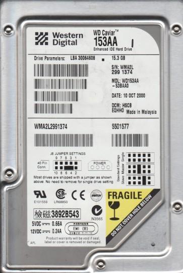 WD153AA-53BAA0, DCM HSCBEQHHO, Western Digital 15.3GB IDE 3.5 Hard Drive