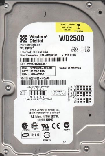 WD2500BB-98DWA0, DCM DSBACVJAA, Western Digital 250GB IDE 3.5 Hard Drive