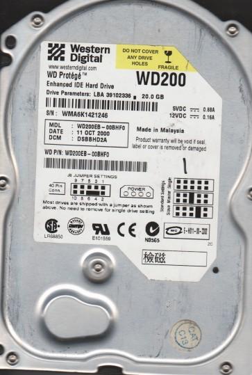 WD200EB-00BHF0, DCM DSBBHD2A, Western Digital 20GB IDE 3.5 Hard Drive