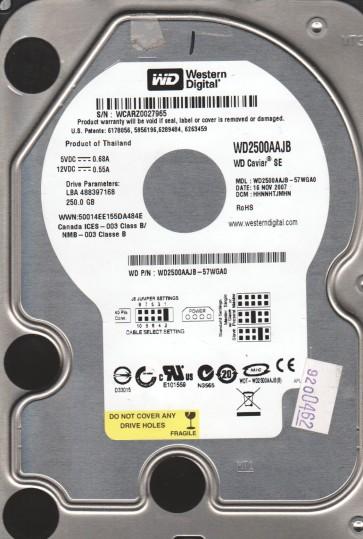 WD2500AAJB-57WGA0, DCM HHNNHTJMHN, Western Digital 250GB IDE 3.5 Hard Drive