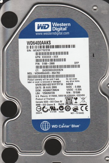 WD6400AAKS-65A7B2, DCM HGNNHT2MN, Western Digital 640GB SATA 3.5 Hard Drive