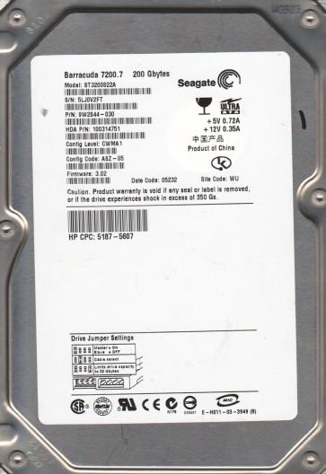 ST3200822A, 5LJ, WU, PN 9W2844-030, FW 3.02, Seagate 200GB IDE 3.5 Hard Drive