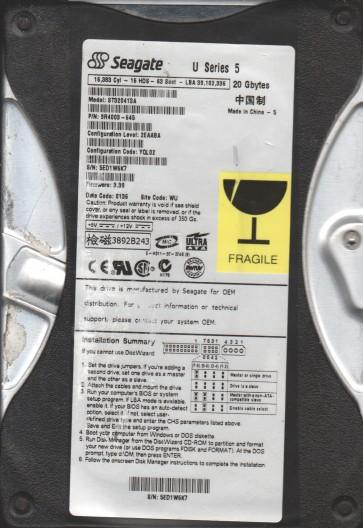 ST320413A, 5ED, WU, PN 9R4003-645, FW 3.39, Seagate 20GB IDE 3.5 Hard Drive