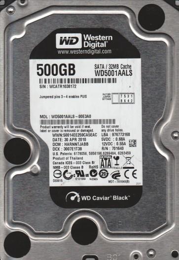 WD5001AALS-00E3A0, DCM HARNNTJABB, Western Digital 500GB SATA 3.5 Hard Drive