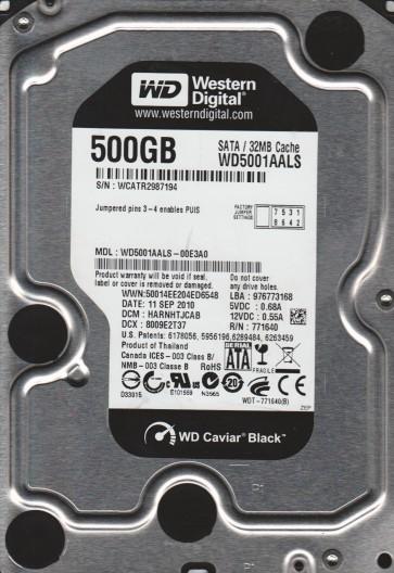WD5001AALS-00E3A0, DCM HARNHTJCAB, Western Digital 500GB SATA 3.5 Hard Drive