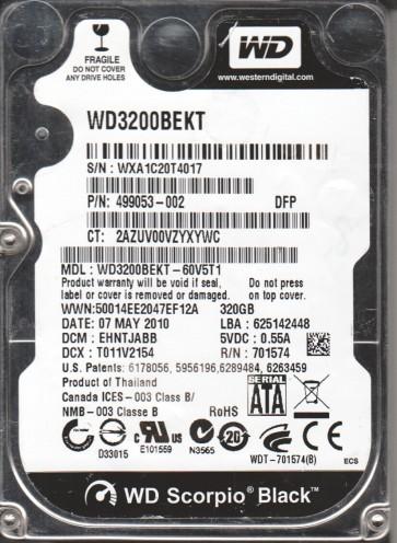 WD3200BEKT-60V5T1, DCM EHNTJABB, Western Digital 320GB SATA 2.5 Hard Drive