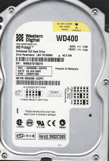 WD400EB-00CPF0, DCM DSBBYV2A, Western Digital 40GB IDE 3.5 Hard Drive