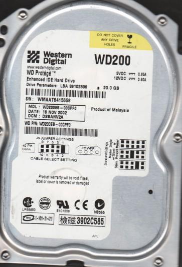 WD200EB-00CPF0, DCM DSBANV2A, Western Digital 20GB IDE 3.5 Hard Drive