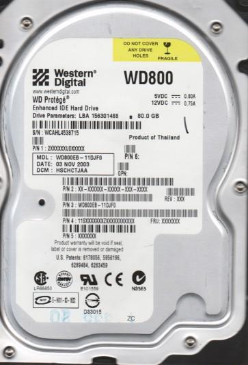 WD800EB-11DJF0, DCM HSCHCTJAA, Western Digital 80GB IDE 3.5 Hard Drive