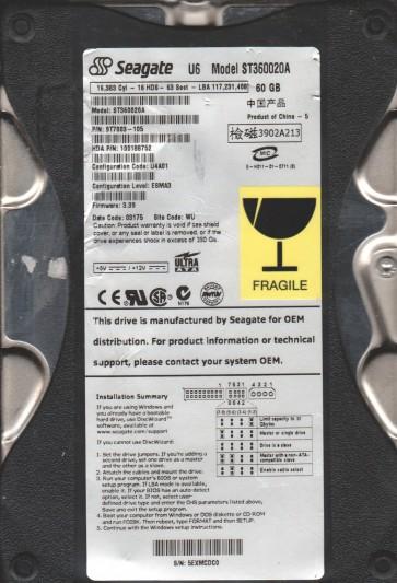 ST360020A, 5EX, WU, PN 9T7003-105, FW 3.39, Seagate 60GB IDE 3.5 Hard Drive