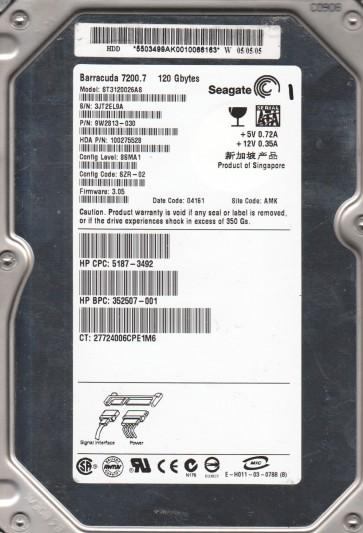 ST3120026AS, 3JT, AMK, PN 9W2813-030, FW 3.05, Seagate 120GB SATA 3.5 Hard Drive