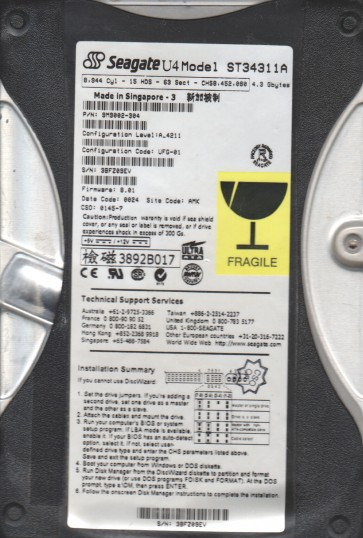 ST34311A, 3BF, AMK, PN 9M9002-304, FW 8.01, Seagate 4.3GB IDE 3.5 Hard Drive