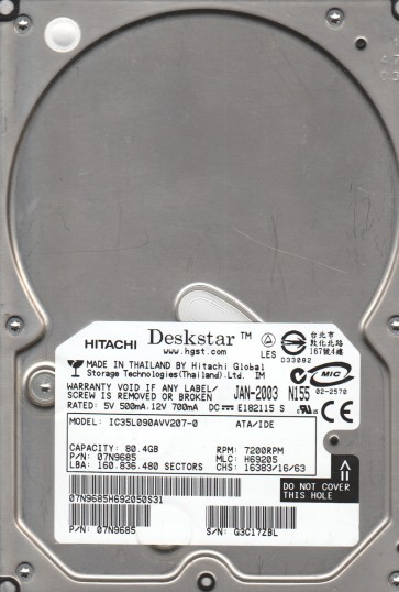 IC35L090AVV207-0, PN 07N9685, MLC H69205, Hitachi 80.4GB IDE 3.5 Hard Drive