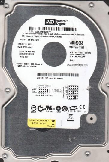 WD1600SB-01RFA0, DCM HSCHCTJCAN, Western Digital 160GB IDE 3.5 Hard Drive