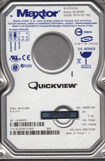 6L250R0, Maxtor 250GB Code BAJ41G20 [KGGA] IDE 3.5 Hard Drive