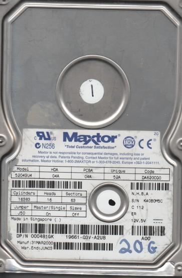 52049U4, Code DA620CQ0, NHBA, Maxtor 20.5GB IDE 3.5 Hard Drive