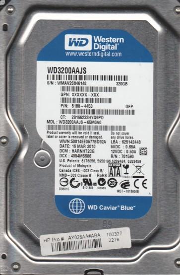 WD3200AAJS-65M0A0, DCM HARNHT2CG, Western Digital 320GB SATA 3.5 Hard Drive