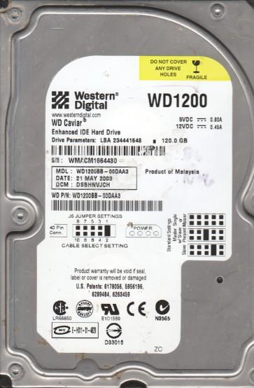 WD1200BB-00DAA3, DCM DSBHNVJCH, Western Digital 120GB SATA 3.5 Hard Drive