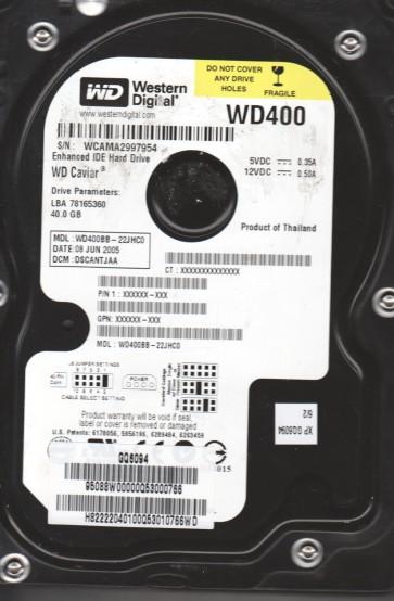 WD400BB-22JHC0, DCM DSCANTJAA, Western Digital 40GB IDE 3.5 Hard Drive
