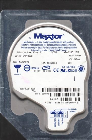 6E030L0, Maxtor 30GB Code NAR61590 [KMGA] IDE 3.5 Hard Drive