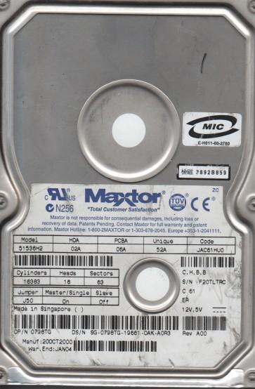 51536H2, Maxtor 10.1GB Code JAC61HU0 [CHBB] IDE 3.5 Hard Drive