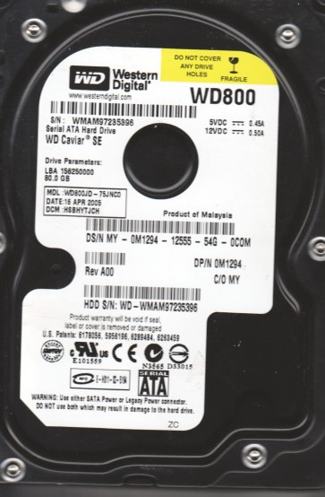 WD800JD-75JNC0, DCM HSBHYTJCH, Western Digital 80GB SATA 3.5 Hard Drive