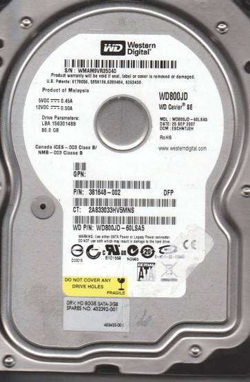 WD800JD-60LSA5, DCM ESCHNTJEH, Western Digital 80GB SATA 3.5 Hard Drive