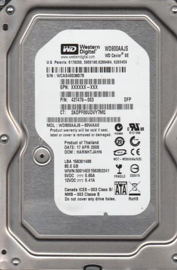 WD800AAJS-60WAA0, DCM HARNHTJAHN, Western Digital 80GB SATA 3.5 Hard Drive
