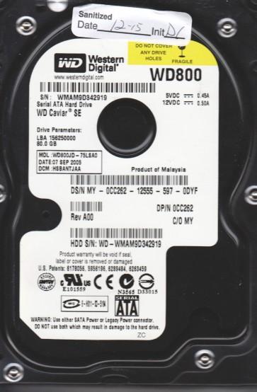 WD800JD-75LSA0, DCM HSBANTJAA, Western Digital 80GB SATA 3.5 Hard Drive