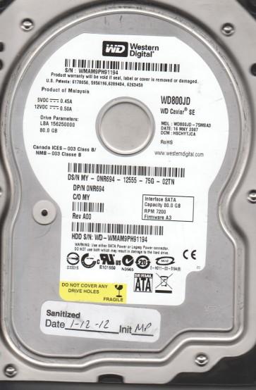 WD800JD-75MSA3, DCM HSCHYTJCA, Western Digital 80GB SATA 3.5 Hard Drive