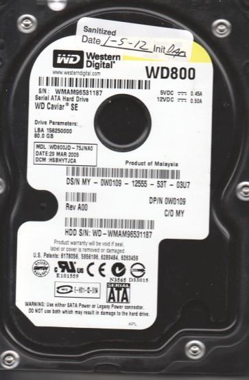 WD800JD-75JNA0, DCM HSBHYTJCA, Western Digital 80GB SATA 3.5 Hard Drive