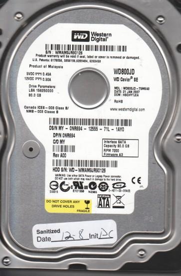WD800JD-75MSA3, DCM HSCHYTJEA, Western Digital 80GB SATA 3.5 Hard Drive