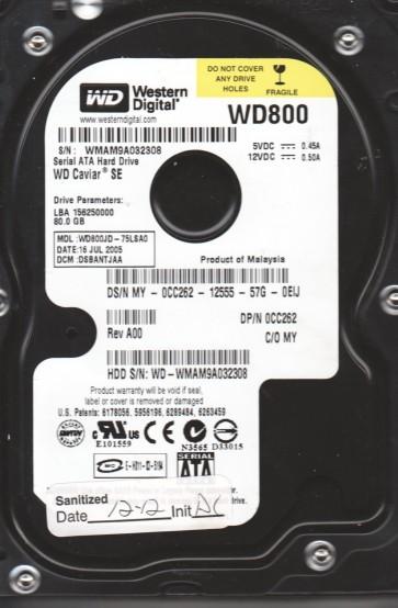 WD800JD-75LSA0, DCM DSBANTJAA, Western Digital 80GB SATA 3.5 Hard Drive