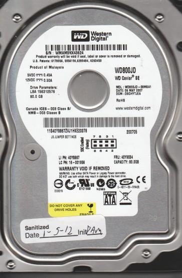 WD800JD-08MSA1, DCM DSCHYTJEA, Western Digital 80GB SATA 3.5 Hard Drive