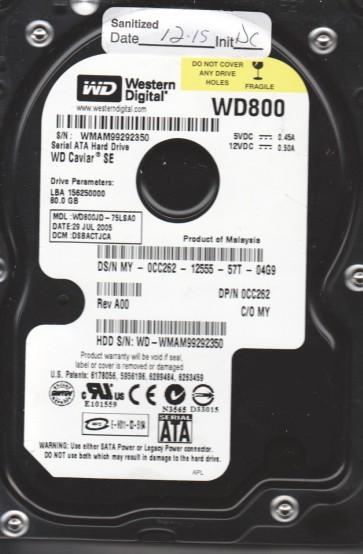 WD800JD-75LSA0, DCM DSBACTJCA, Western Digital 80GB SATA 3.5 Hard Drive