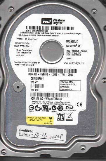 WD800JD-75MSA3, DCM HSBHYTJEA, Western Digital 80GB SATA 3.5 Hard Drive