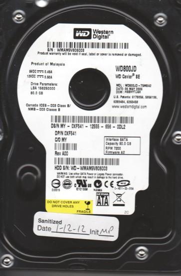 WD800JD-75MSA2, DCM HSBHYTJAH, Western Digital 80GB SATA 3.5 Hard Drive