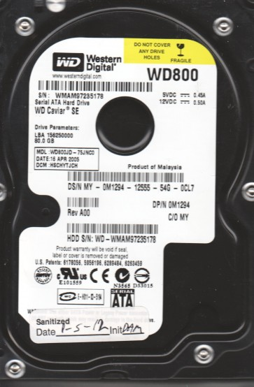 WD800JD-75JNC0, DCM HSCHYTJCH, Western Digital 80GB SATA 3.5 Hard Drive