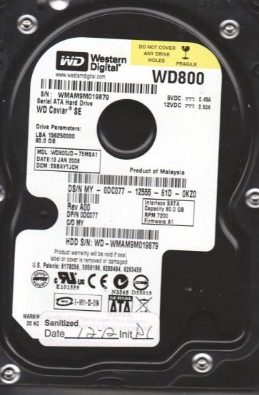 WD800JD-75MSA1, DCM ESBAYTJCH, Western Digital 80GB SATA 3.5 Hard Drive