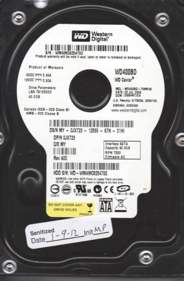 WD400BD-75MRA3, DCM DSBHNTJCA, Western Digital 40GB SATA 3.5 Hard Drive
