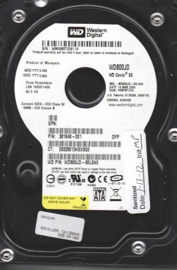 WD800JD-60LSA0, DCM HSBHNTJCA, Western Digital 80GB SATA 3.5 Hard Drive
